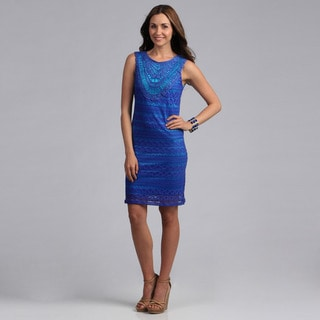 Madison Paige Women's Lace and Embroidery Overlay Dress