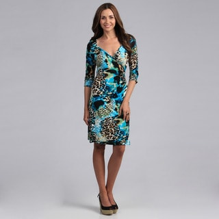 Madison Paige Women's Fun and Fashionable Mixed Print Wrap Dress