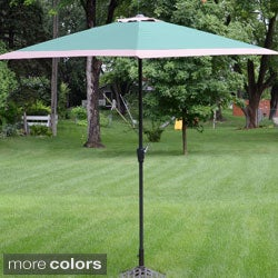 Styled Shopping Deluxe 10-foot Green/ Beige Aluminum Umbrella