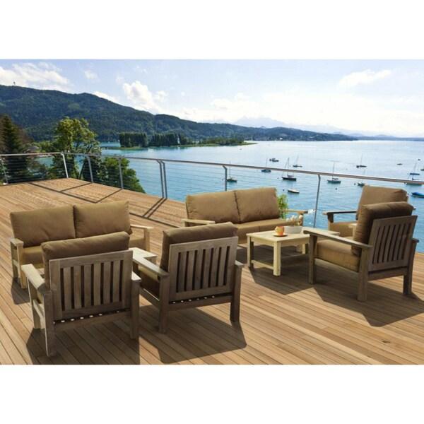 Amazonia Teak San Francisco Deluxe 8 piece Deep Seating Patio Furniture Set
