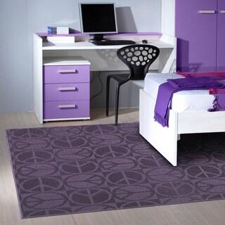 Somette Peace, Love & Purple Area Rug (7'6 x 9'6)
