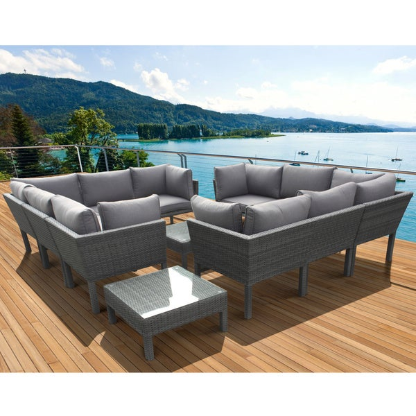 Atlantic Atlantic Majorca Grey Dark Grey 12 piece Sectional Patio Furniture