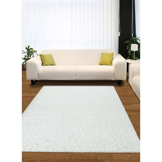 Somette Eaton Smith Shag White Area Rug (5' x 7')