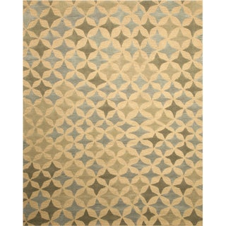 EORC Hand-tufted Blue Star Wool Rug (7'9 x 9'9)