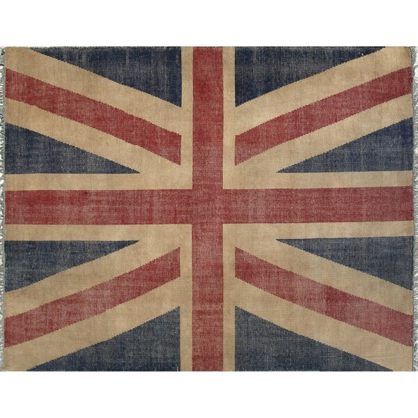 EORC Hand Knotted Wool Red Union Jack British Flag Rug (8