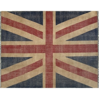 EORC Hand-knotted Union Jack British Flag Wool Rug (8' x 10')