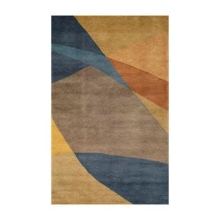 Handmade Geo Metro Blue Wool Blend Rug (9' x 12')