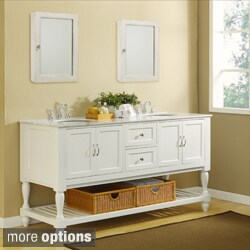 70-Inch Pearl White Mission Turnleg Double Vanity Sink Cabinet