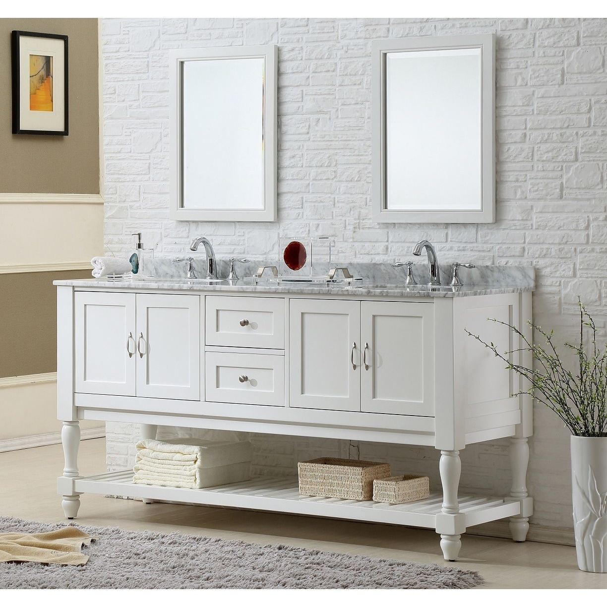 Direct Vanity 70 Inch Pearl White Mission Turnleg Double Vanity Sink Cabinet