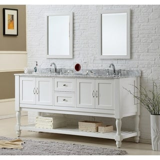 Direct Vanity 70-Inch Pearl White Mission Turnleg Double Vanity Sink Cabinet