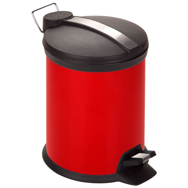 Red 3-liter Steel Step Trash Can