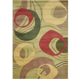 Alliyah Handmade Amber Green New Zealand Blend Wool Rug ('9 x 12')
