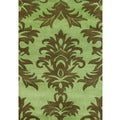 Handmade Palm Green Wool Blend Rug (9' x 12')