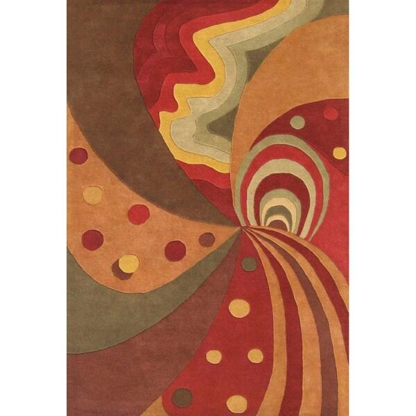 Alliyah Handmade Brown New Zealand Blend Wool Rug (9' x 12')