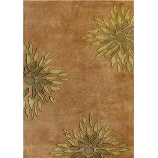 Handmade Floral Brown Wool Blend Rug (9' x 12')