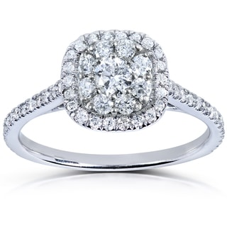 Annello 14k White Gold 1/2 ct TDW Diamond Cluster Engagement Ring (H-I, I1-I2)