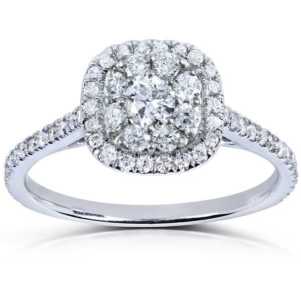 Annello 14k White Gold 1/2ct TDW Diamond Cluster Engagement Ring (H-I, I1-I2)