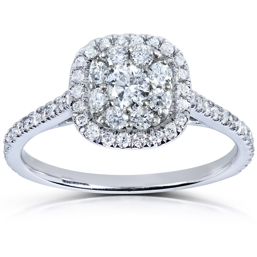 Annello 14k White Gold 1/2 ct TDW Diamond Cluster Engagement Ring (H-I, I1-I2) at Sears.com