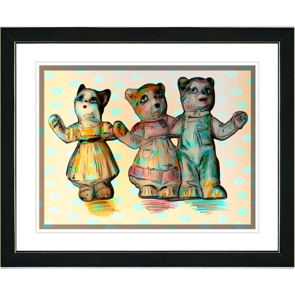Studio Works Modern 'Cat Family - Yellow' Framed Print