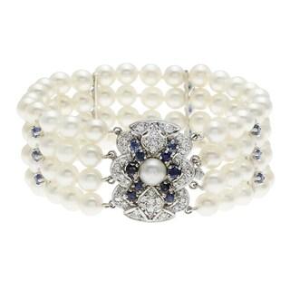 14k Gold Pearl, Sapphire and 1/2ct TDW Diamond Estate Bracelet (I-J, SI1-SI2)