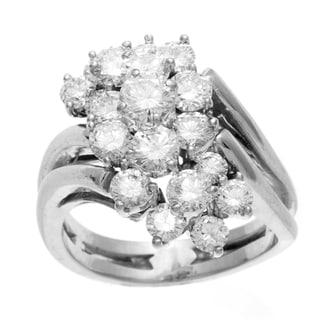 Pre-owned 14K White Gold 3ct TDW Diamond Cluster Estate Ring (F-G, VS1-VS2)
