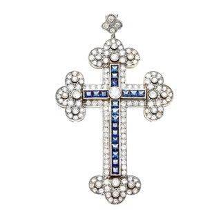 Platinum Sapphire and 4 1/2ct TDW Diamond Cross Estate Pendant (I-J, SI1-SI2)