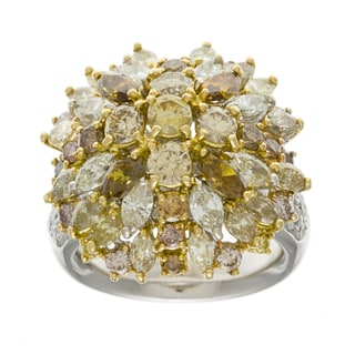 18k Gold 5 3/4ct TDW Colored Diamond Cluster Estate Ring (J-K, SI1-SI2)