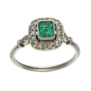 Platinum Emerald and 1/3ct TDW Diamond Estate Ring (J-K, SI1-SI2)