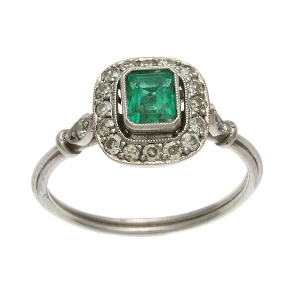 Platinum Emerald and 1/3ct TDW Diamond Estate Ring (J-K, SI1-SI2)