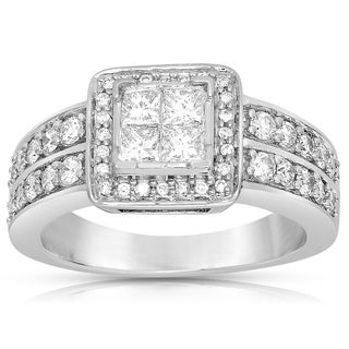 14k White Gold 1ct TDW Princess-cut Diamond Ring (G-H, SI1-SI2)