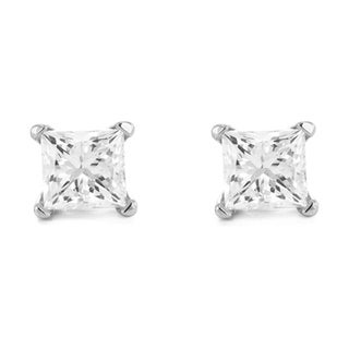14k White Gold 1/4ct TDW Princess-cut Diamond Solitaire Stud Earrings (G-H, VS1-VS2)