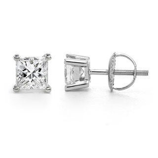 14k White Gold 1/3ct TDW Diamond Solitaire Stud Earrings (G-H, SI1-SI2)