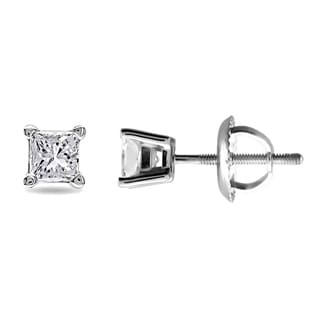 14k White Gold 1/2ct TDW Diamond Solitaire Stud Earrings (G-H, VS1-VS2)