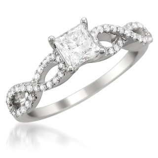 14k White Gold 1ct TDW Princess-cut Diamond Engagement Ring (G-H, SI2)