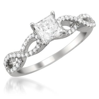 14k White Gold 1ct TDW Princess-cut Diamond Engagement Ring (G-H, SI2)