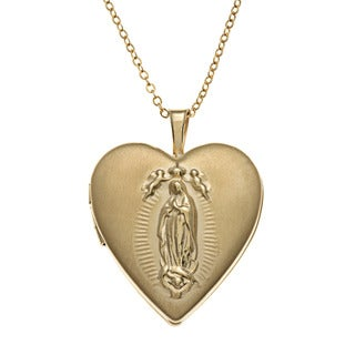Sterling Essentials 14k Goldfill Guadalupe Locket 18-inch Necklace