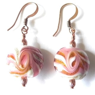 Palmtree Gems 'Candy' Lampworked Glass Dangle Earrings