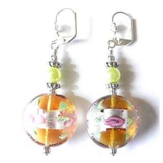 'Penelope' Lampworked Glass Dangle Earrings