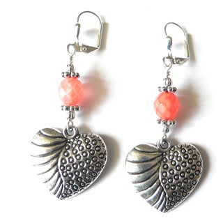 'Coral' Heart Dangle Earrings