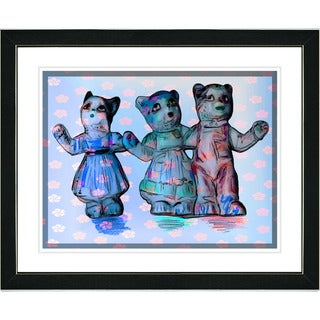 Studio Works Modern 'Cat Family - Blue' Framed Print