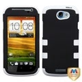 BasAcc Black/ White Rubberized Hybrid Case for HTC One S