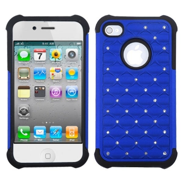 INSTEN Dark Blue/ Black Lattice Phone Case Cover for Apple iPhone 4/ 4S