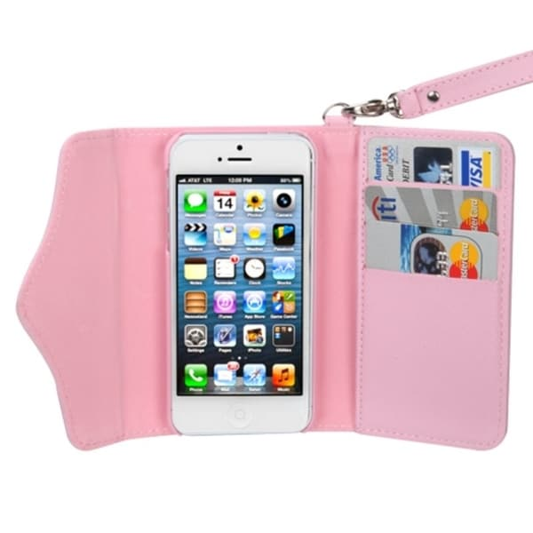 INSTEN Apple iPhone 5 Baby Pink Wallet Card Slots Lanyard Phone Case Cover with Handstrap