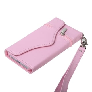 BasAcc Apple iPhone 5 Baby Pink Wallet Card Slots Lanyard Case with Handstrap