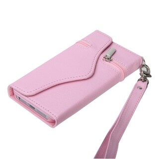BasAcc Pink Wallet Case with Handstrap for Apple iPhone 5