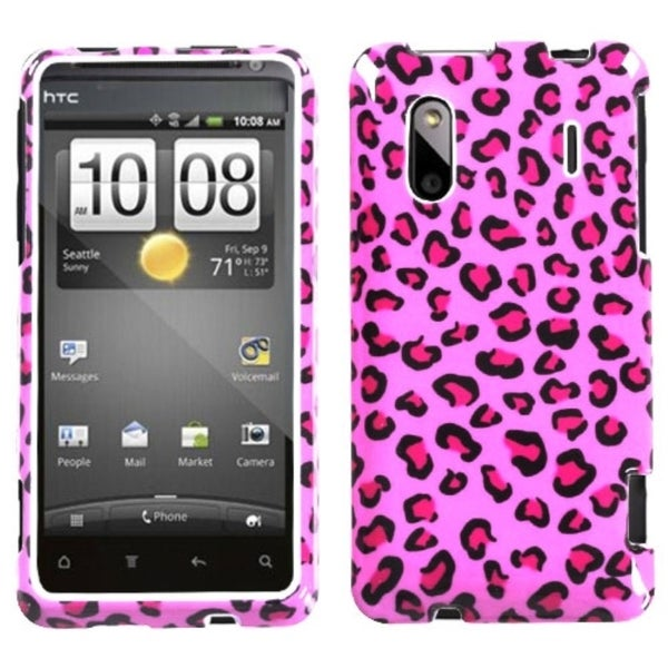 INSTEN Pink Leopard Skin Phone Protector Phone Case Cover for HTC EVO Design 4G