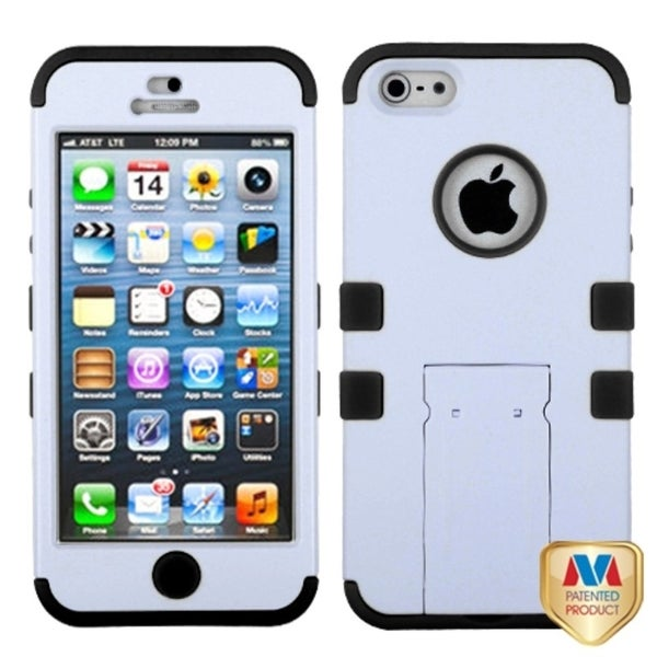 INSTEN White/ Black Rubberized TUFF Hybrid Phone Case Cover for Apple iPhone 5
