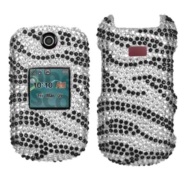 INSTEN Black/ Zebra Skin Diamante Phone Case Cover for Samsung R270 Chrono 2