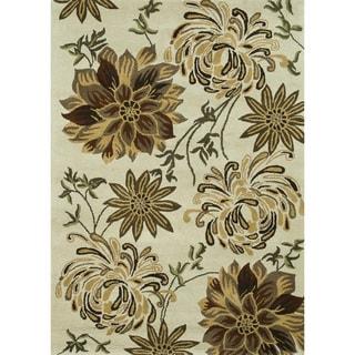 Hand-Tufted Leighton Ivory Wool Rug (5'0 x 7'6)