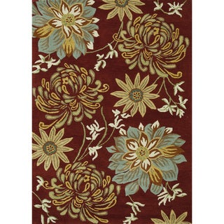 Hand-tufted Leighton Red Wool Rug (5'0 x 7'6)